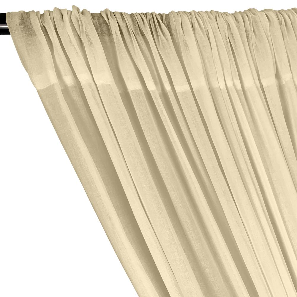 Cotton Voile Rod Pocket Curtains - Beige