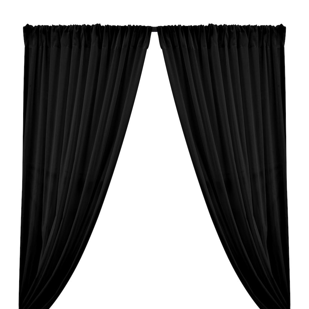 Cotton Voile Rod Pocket Curtains - Black