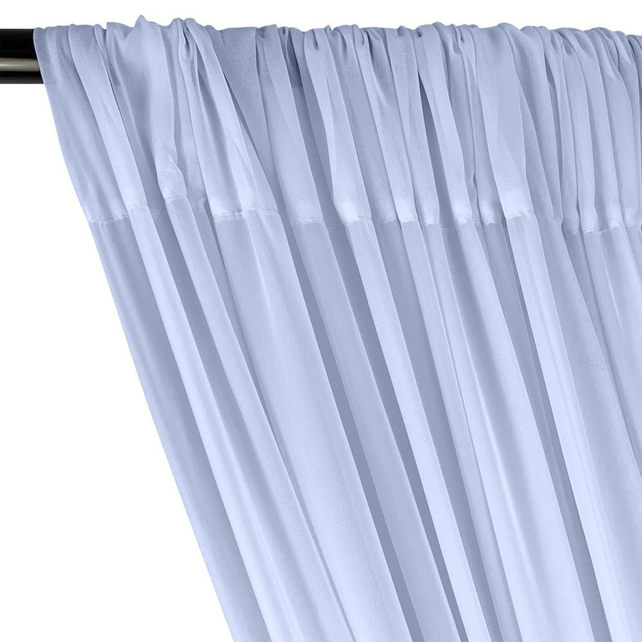 Polyester Chiffon Rod Pocket Curtains - Baby Blue
