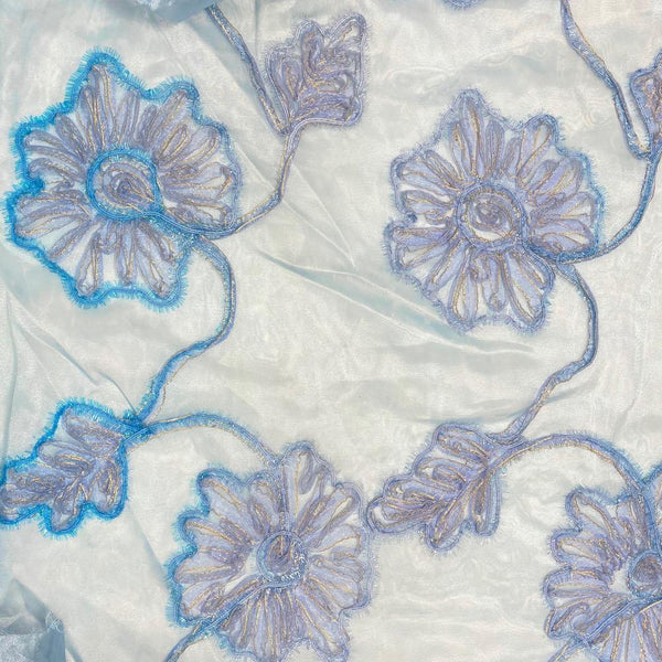 Baby Blue Floral Metallic Corded Ribbon Organza