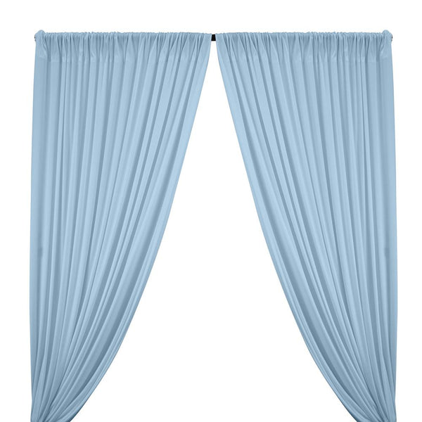 Interlock Knit Rod Pocket Curtains - Baby Blue