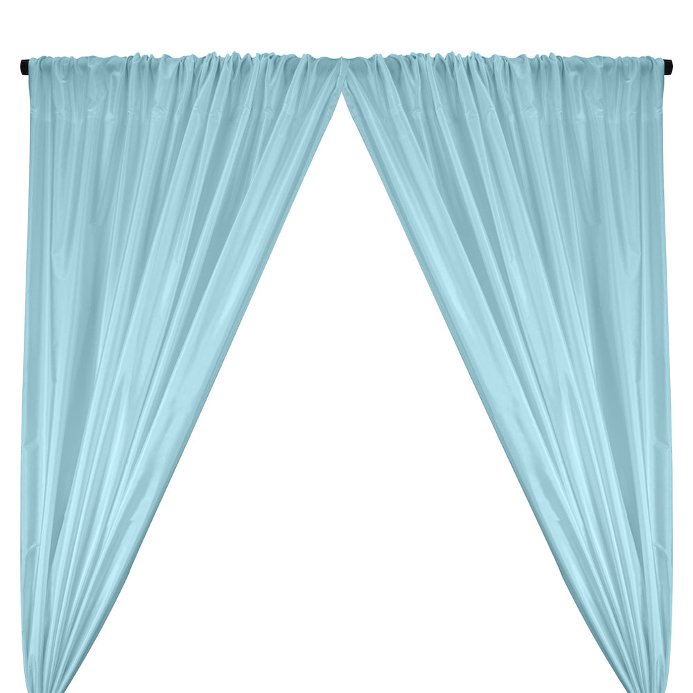 Polyester Taffeta Lining Rod Pocket Curtains - Baby Blue