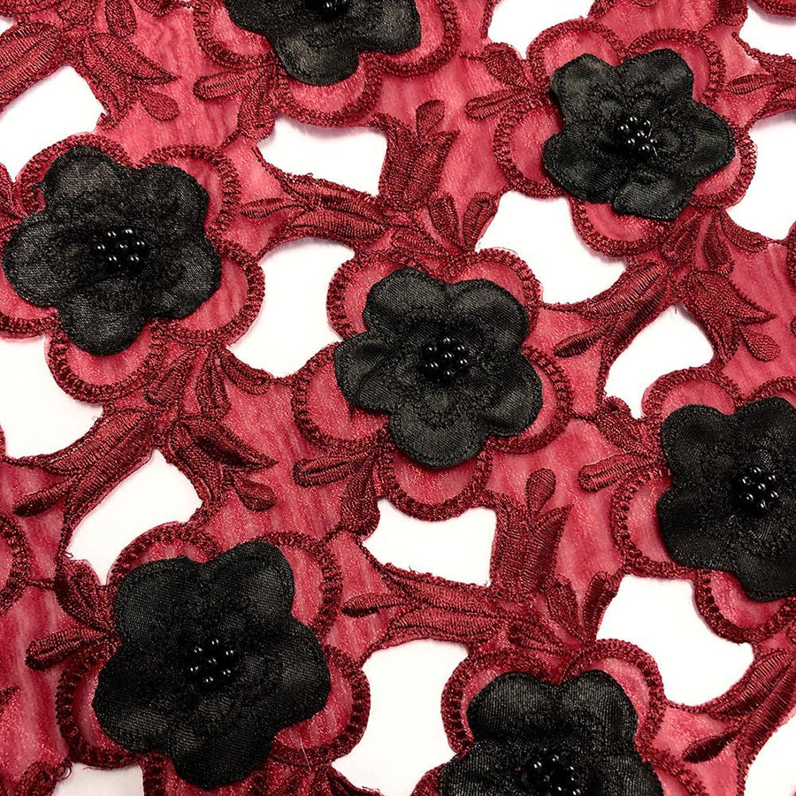 Black Floral Embroidery on Red Organza Lace