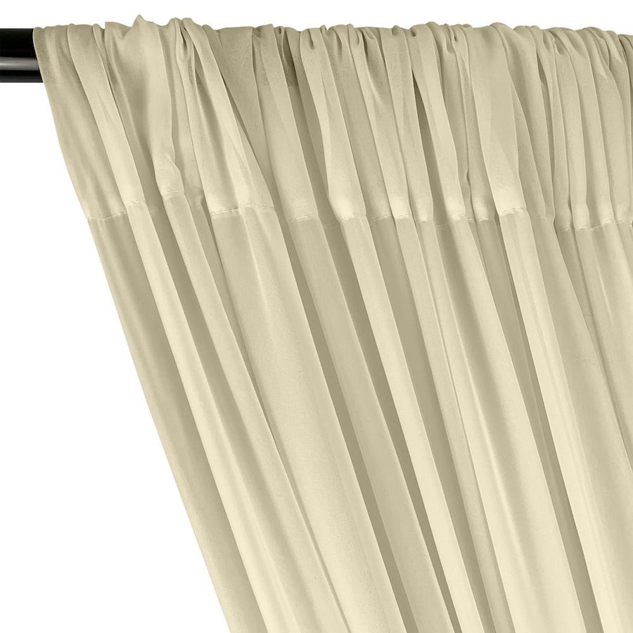 Polyester Chiffon Rod Pocket Curtains - Beige