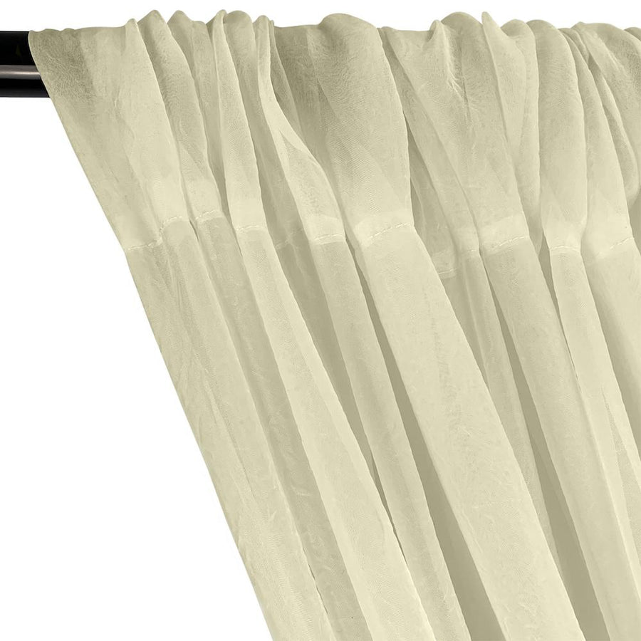 Crushed Sheer Voile Rod Pocket Curtains - Beige