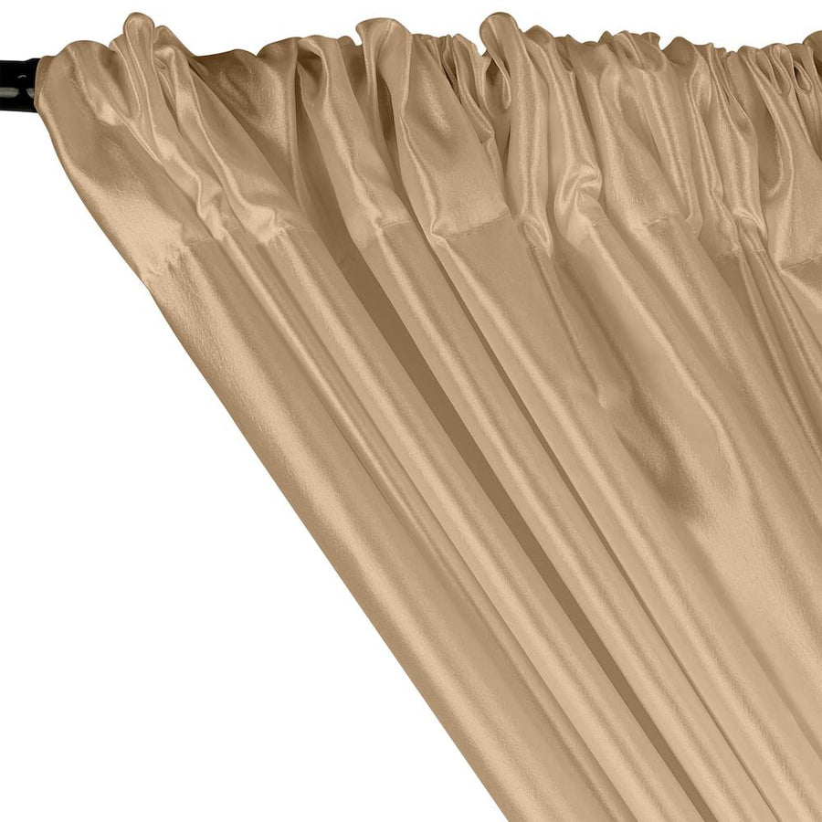 Extra Wide Nylon Taffeta Rod Pocket Curtains - Beige