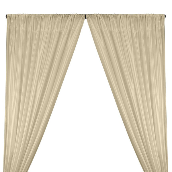 Poly China Silk Lining Rod Pocket Curtains - Beige