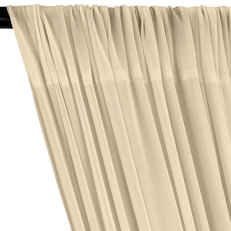 Power Mesh Rod Pocket Curtains - Beige