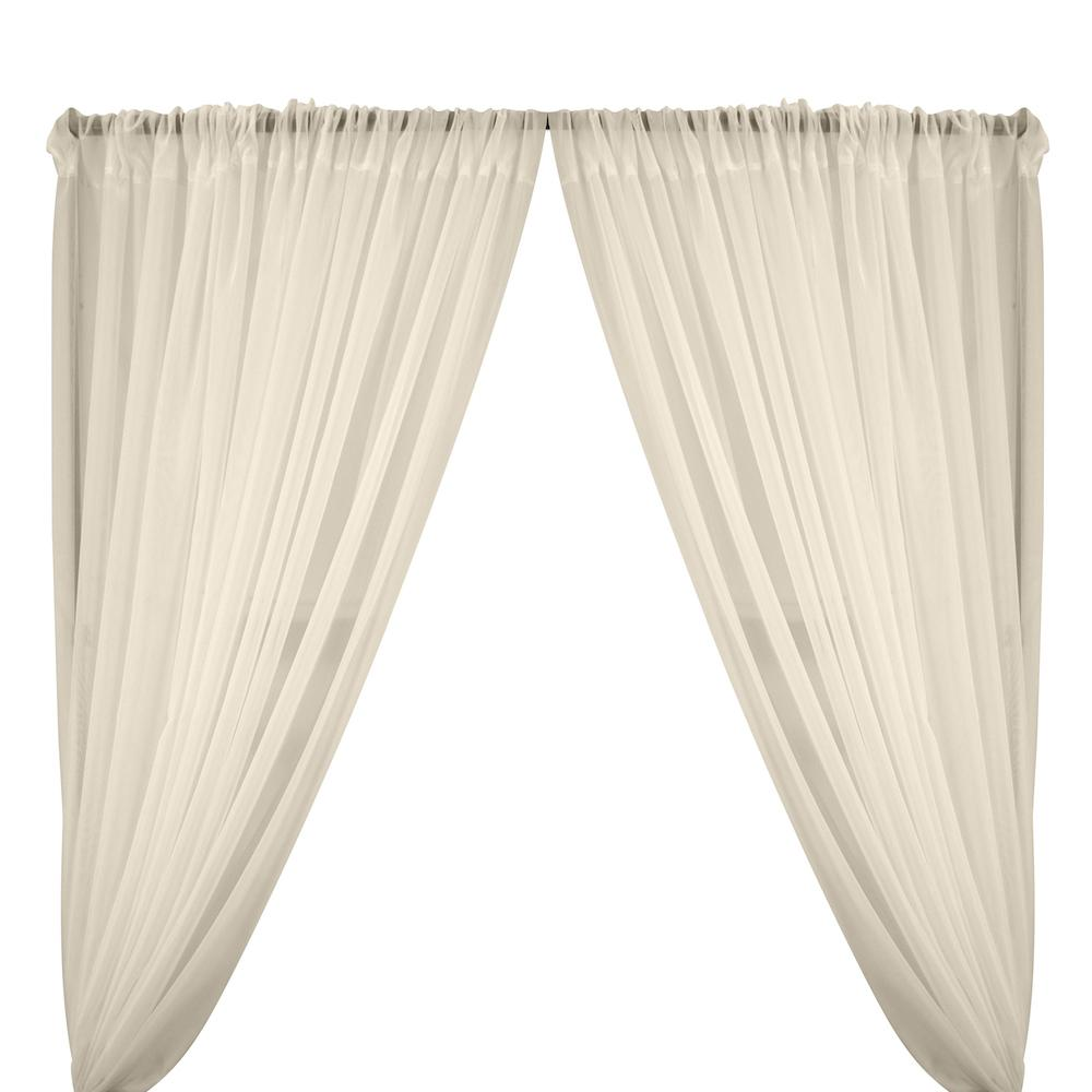 Sheer Voile Rod Pocket Curtains - Beige