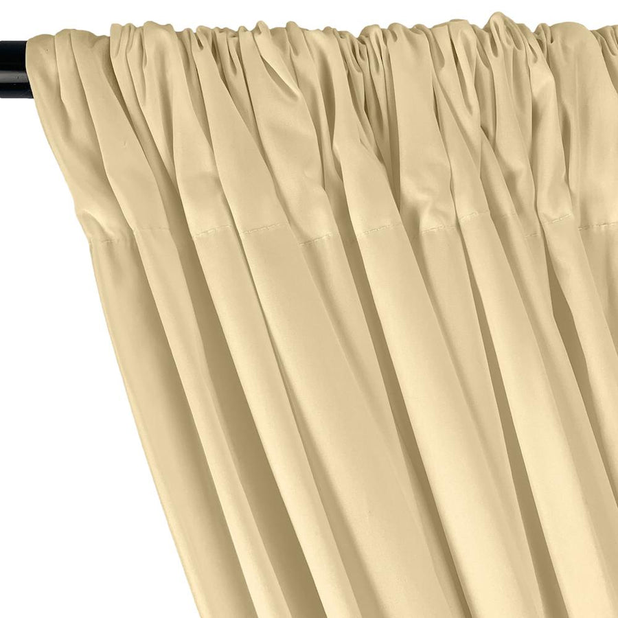 Stretch Broadcloth Rod Pocket Curtains - Beige
