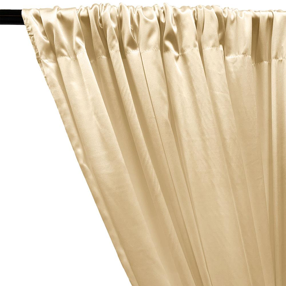 Stretch Charmeuse Satin Rod Pocket Curtains - Beige