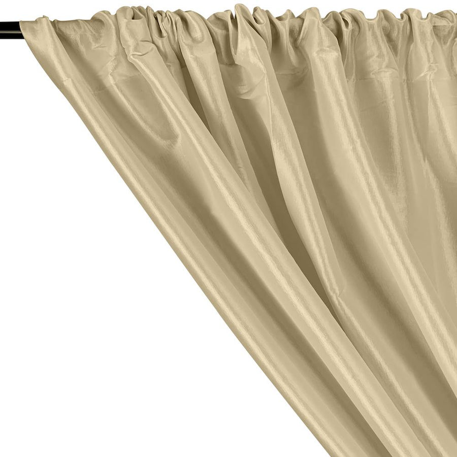 Stretch Taffeta Rod Pocket Curtains - Beige
