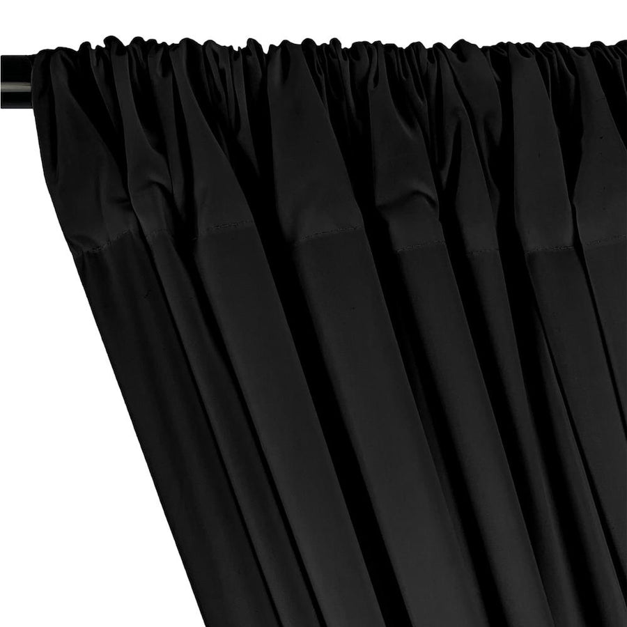 100% Cotton Broadcloth Rod Pocket Curtains - Black