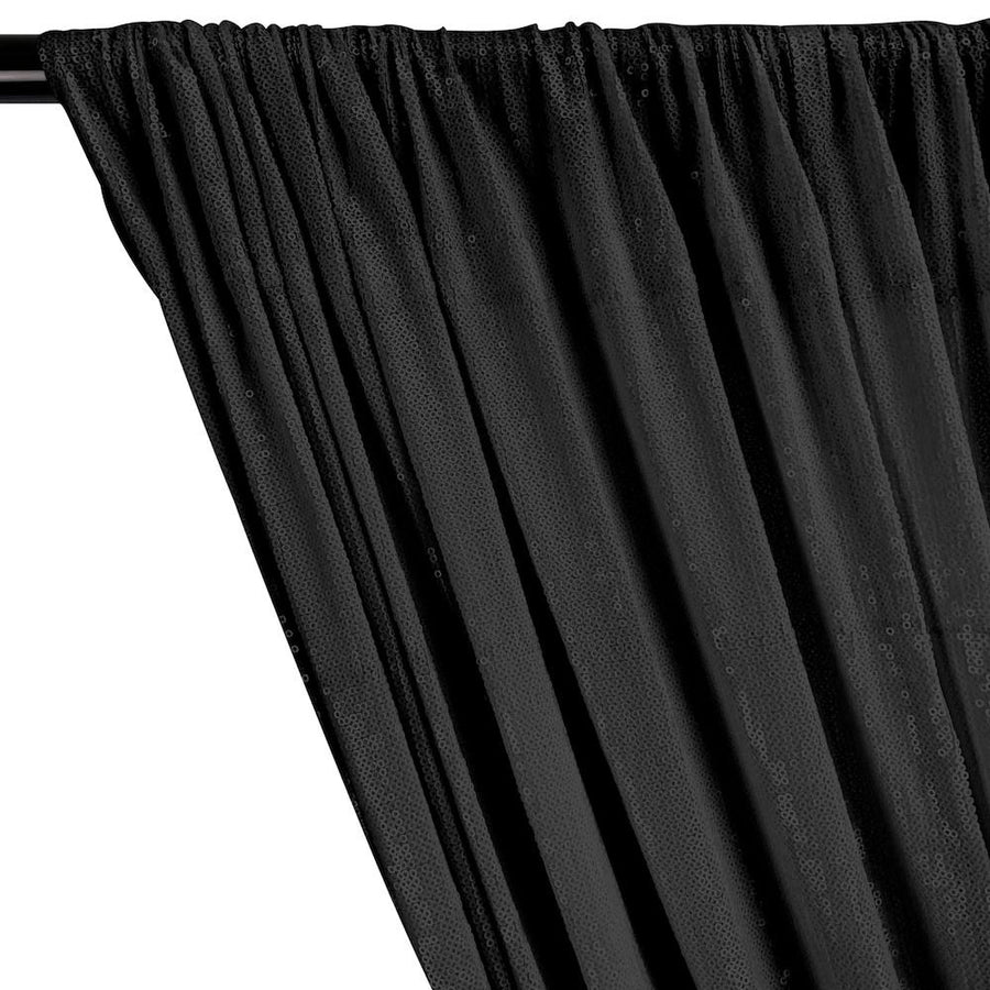 All-Over Micro Sequins Starlight On Stretch Mesh Rod Pocket Curtains - Black