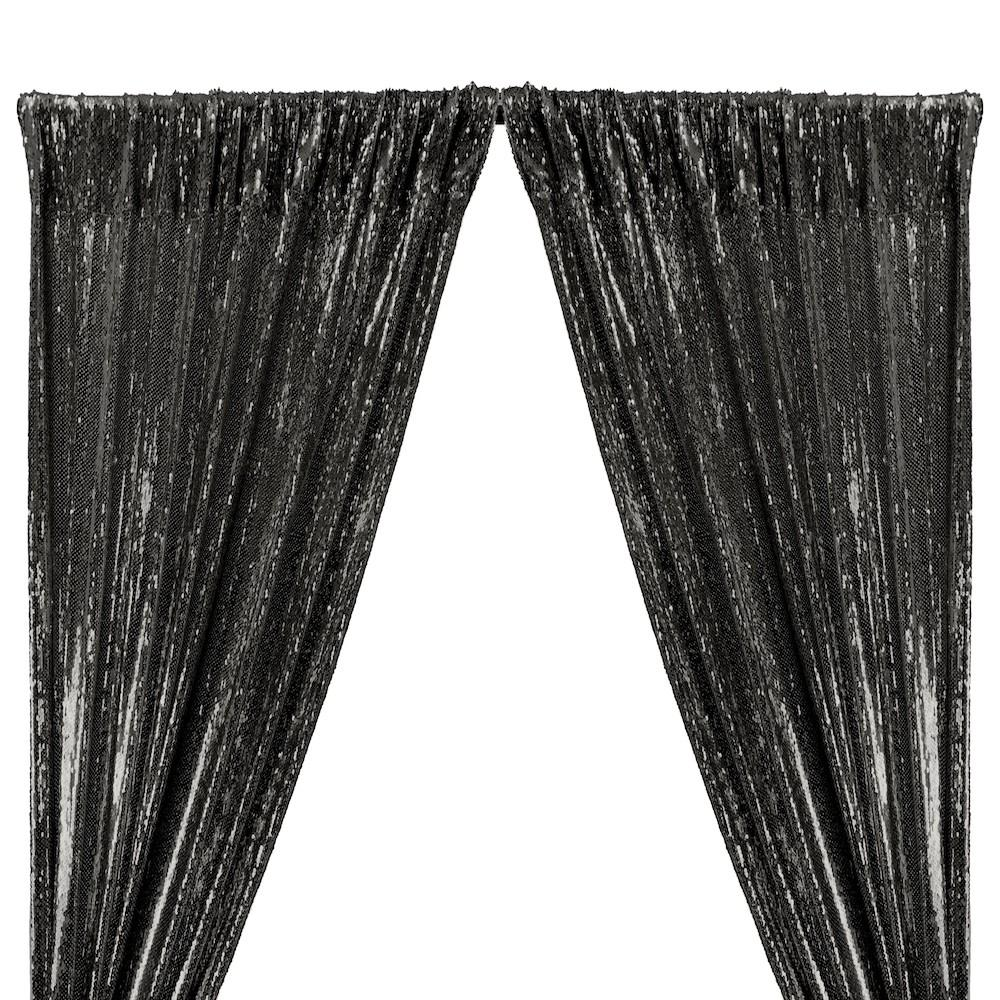 All-Over Sequins Mermaid Scale on Stretch Mesh Rod Pocket Curtains - Black