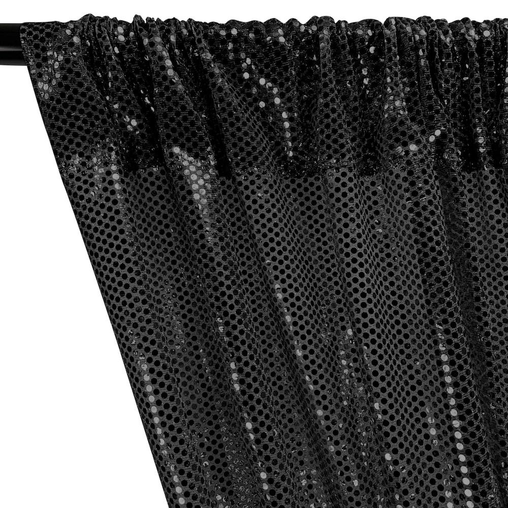 American Trans Knit Sequins Rod Pocket Curtains - Black