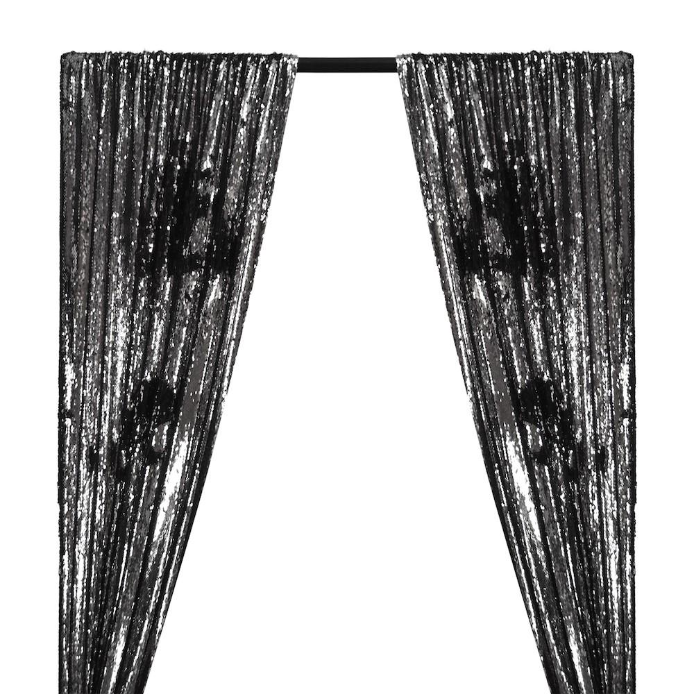 Two-Sided Reversible Sequins Rod Pocket Curtains - Black / Silver