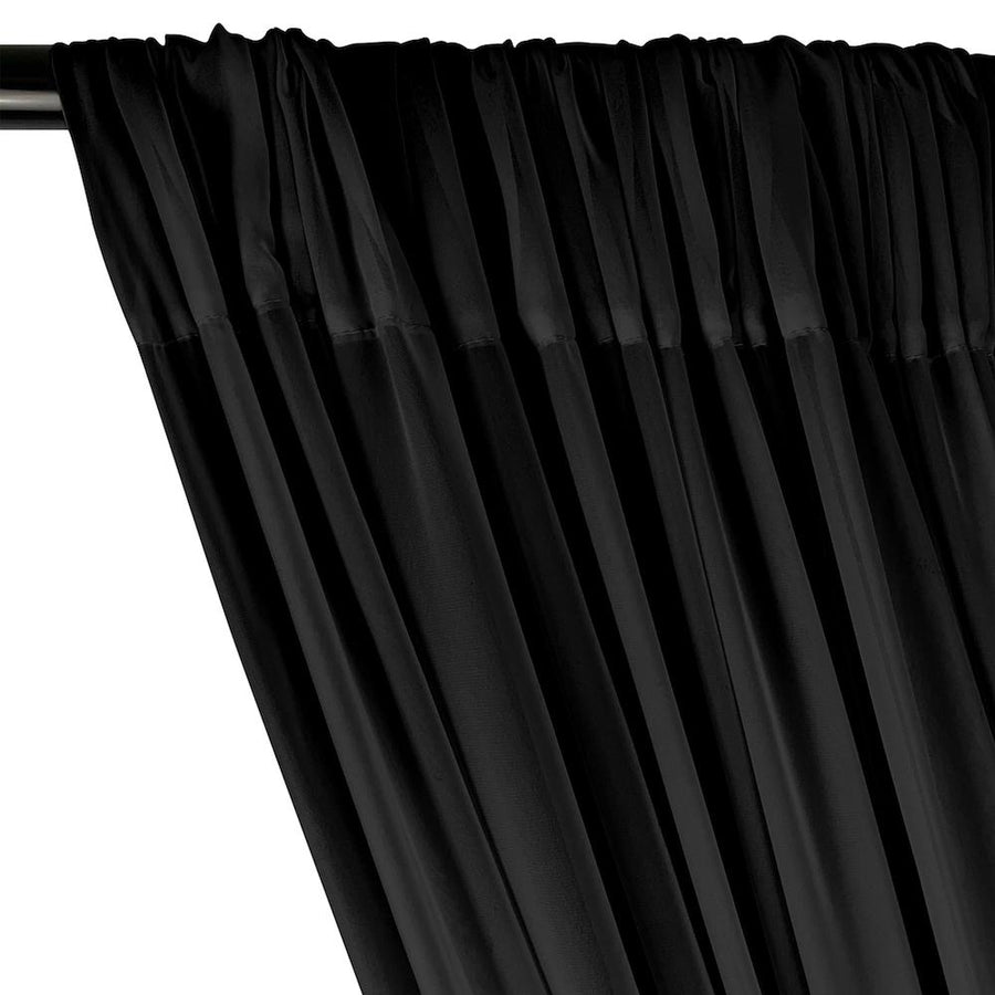 Polyester Chiffon Rod Pocket Curtains - Black