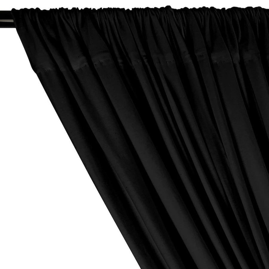 Cotton Jersey Rod Pocket Curtains - Black
