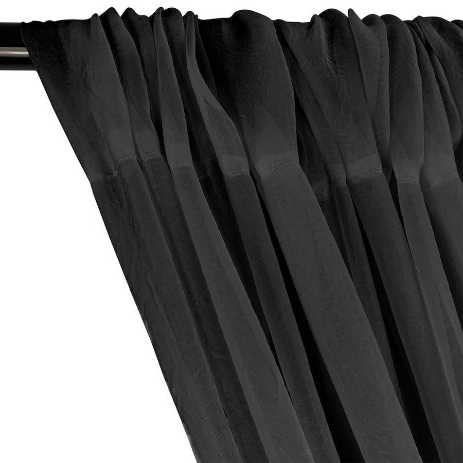 Crushed Sheer Voile Rod Pocket Curtains - Black
