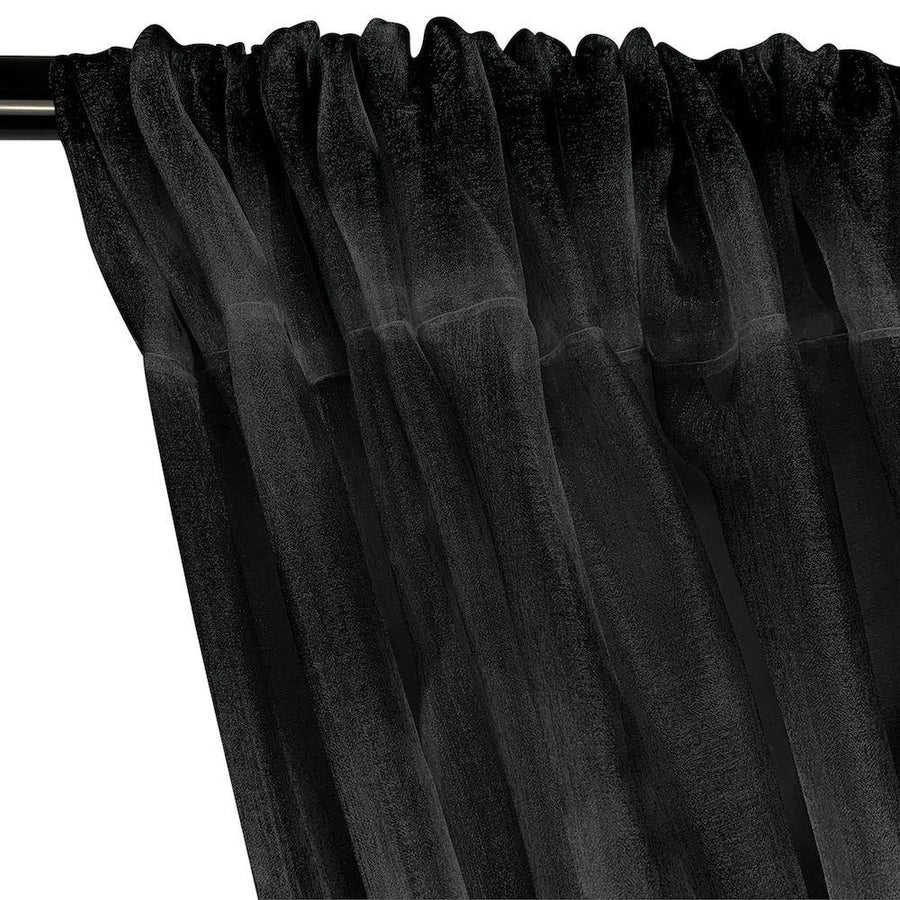 Crystal Organza Rod Pocket Curtains - Black