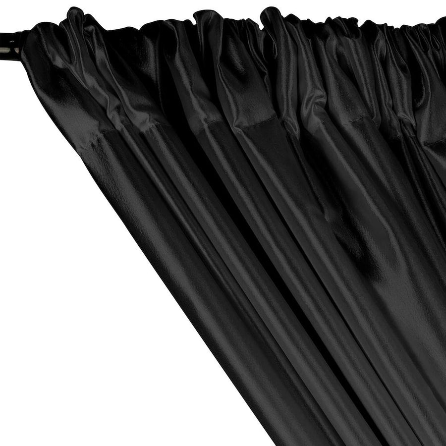 Extra Wide Nylon Taffeta Rod Pocket Curtains - Black