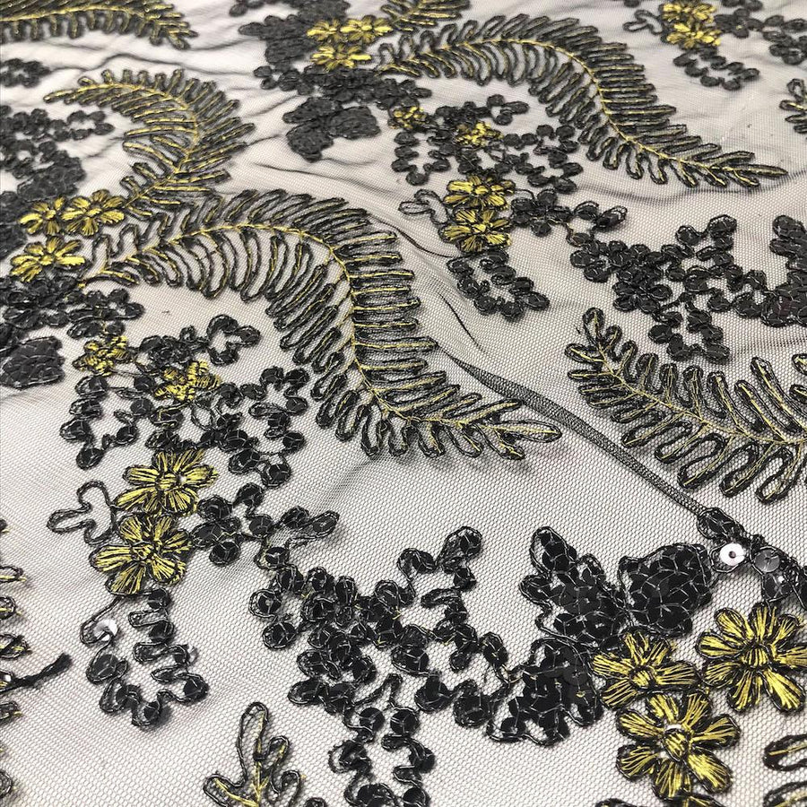Black Fern Corded Metallic Embroidery on Mesh