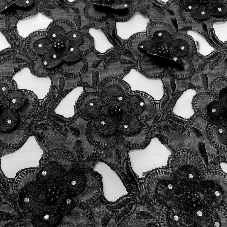 Black Floral Embroidery on Black Organza Lace