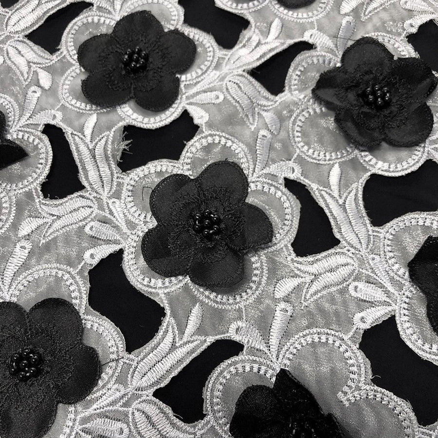 Black Floral Embroidery on White Organza Lace