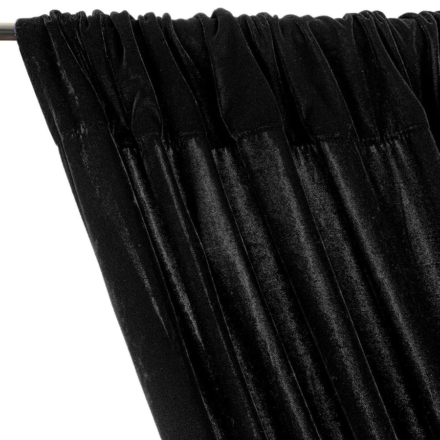 Micro Velvet Rod Pocket Curtains - Black