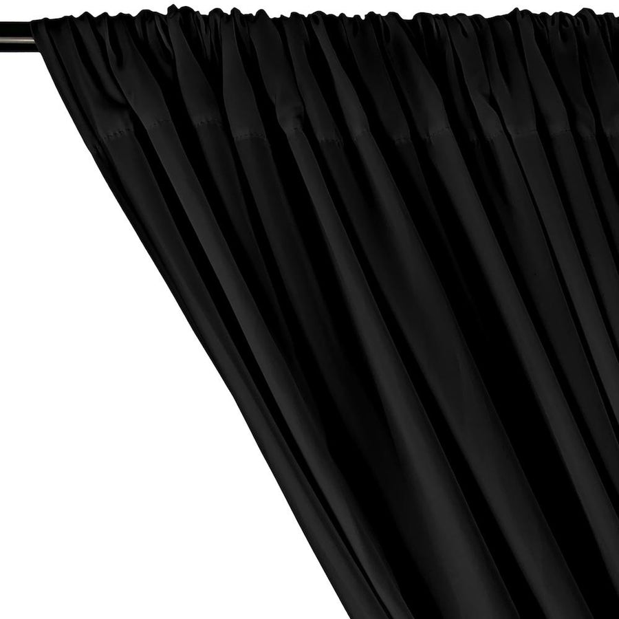 Peachskin Rod Pocket Curtains - Black