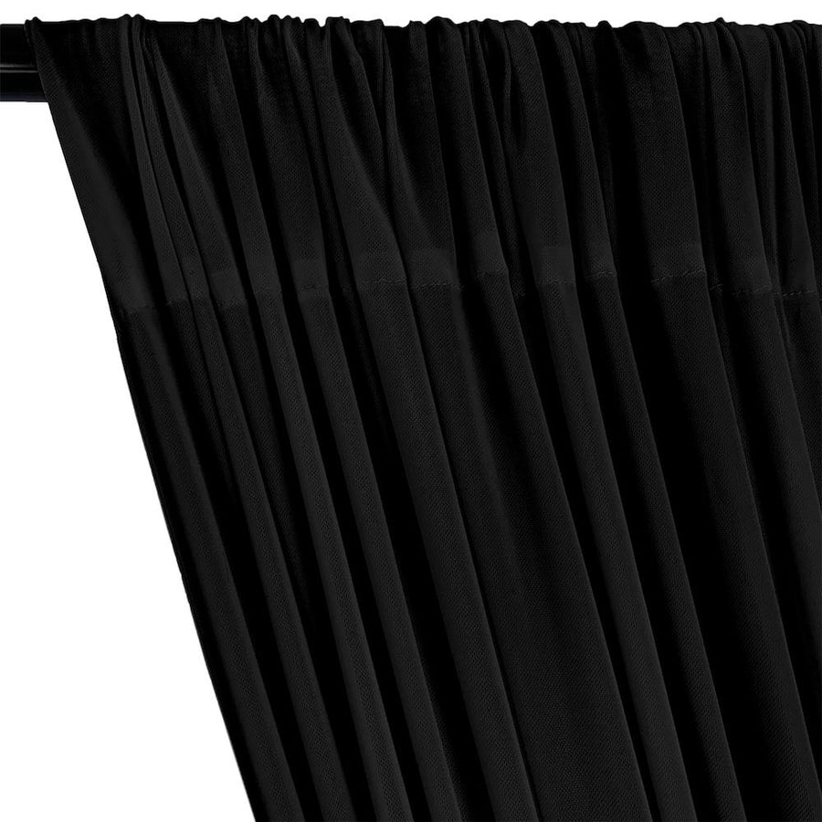 Power Mesh Rod Pocket Curtains - Black