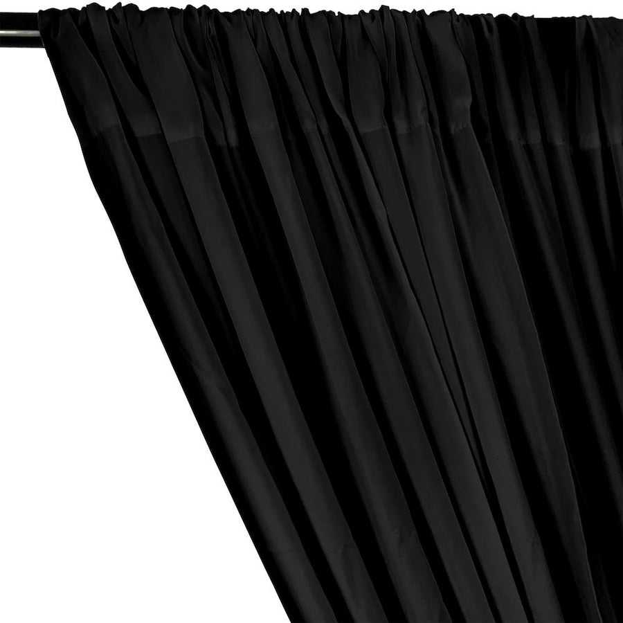 Rayon Challis Rod Pocket Curtains - Black