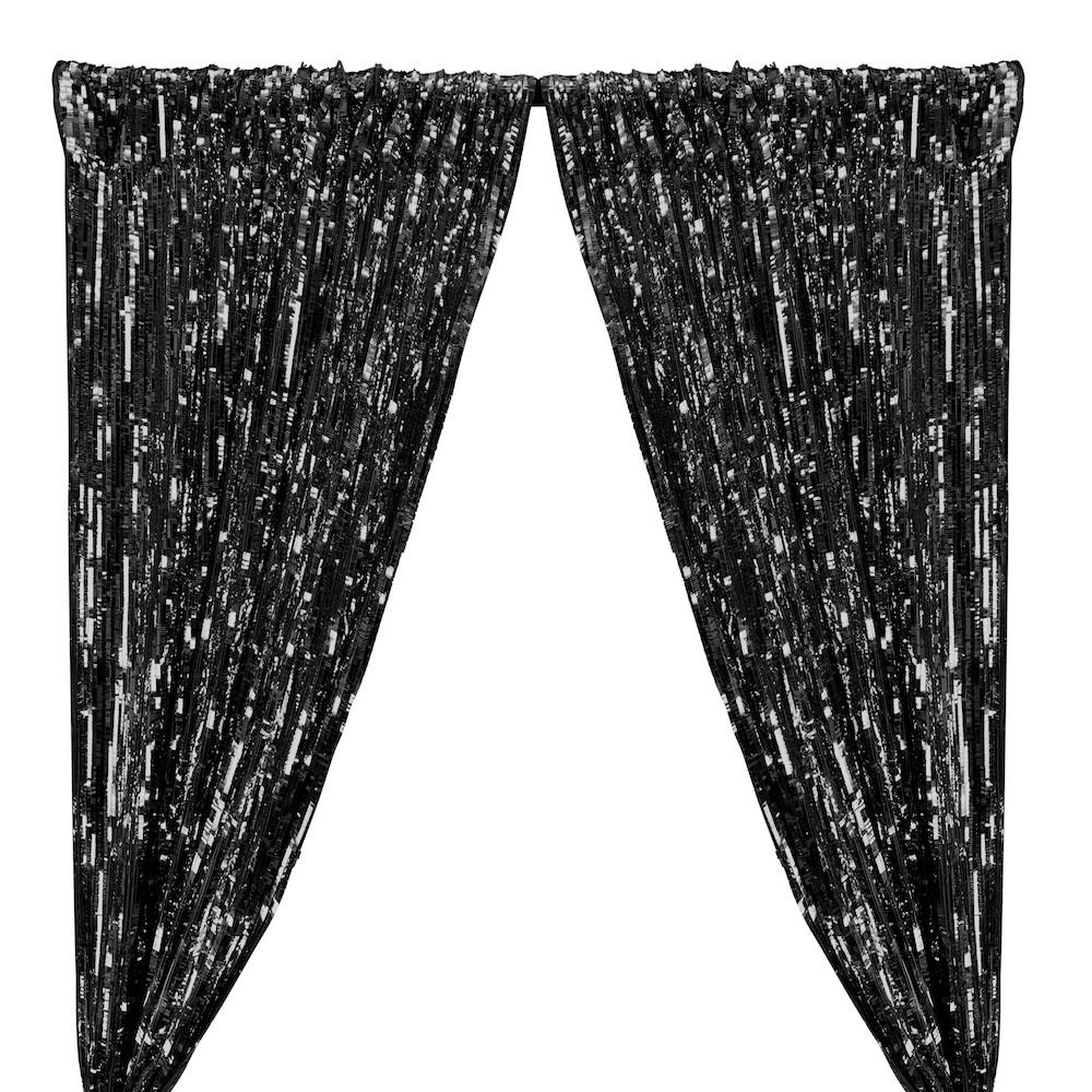 Rectangle Piano Sequins Rod Pocket Curtains - Black