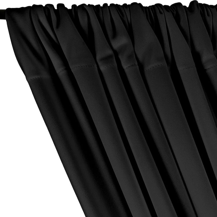 Scuba Double Knit Rod Pocket Curtains - Black