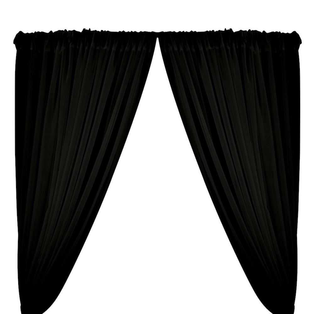 Sheer Voile Rod Pocket Curtains - Black