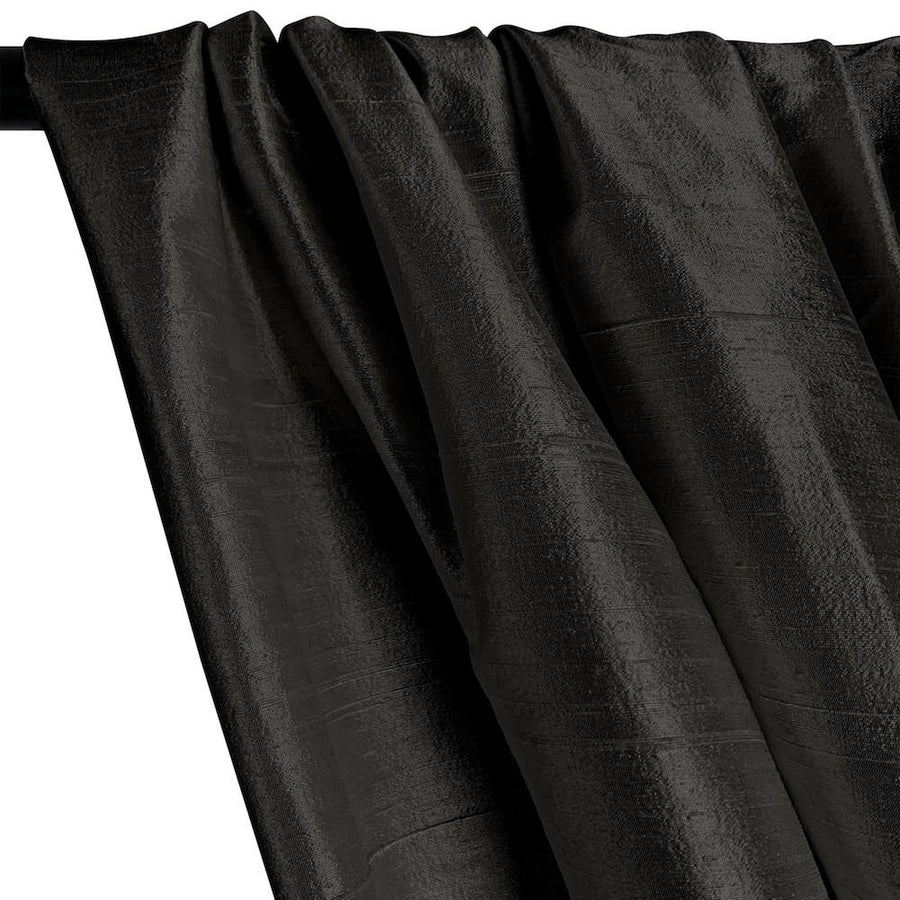 "Silk Dupioni (54"") Rod Pocket Curtains - Black"