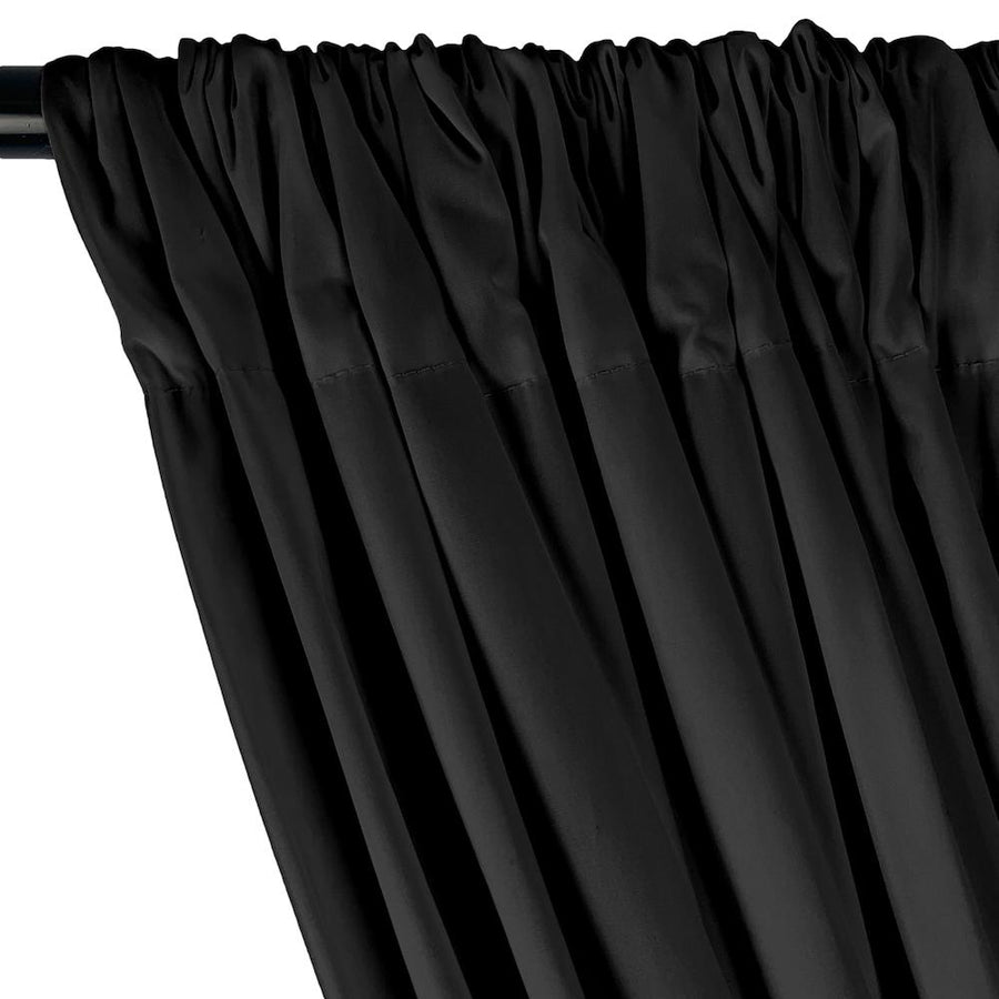 Stretch Broadcloth Rod Pocket Curtains - Black