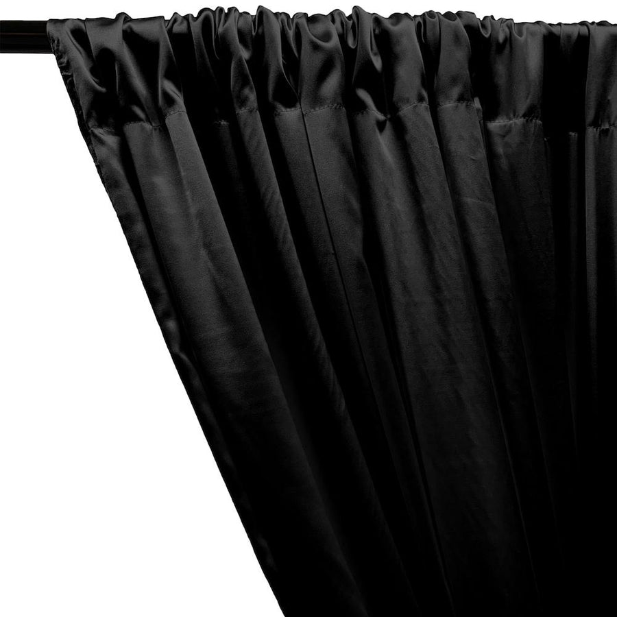 Stretch Charmeuse Satin Rod Pocket Curtains - Black