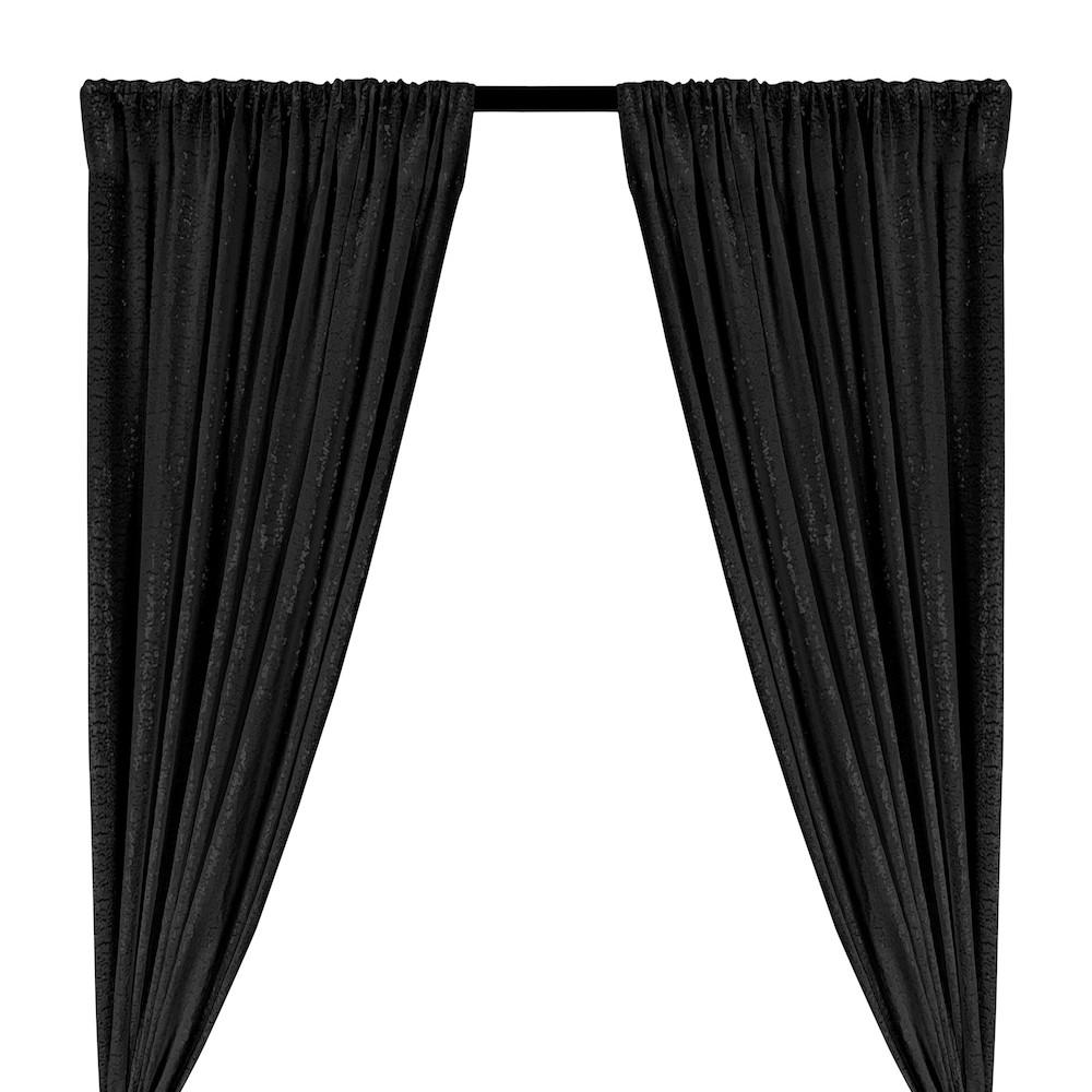 Zigzag Micro Sequins Starlight Rod Pocket Curtains - Black