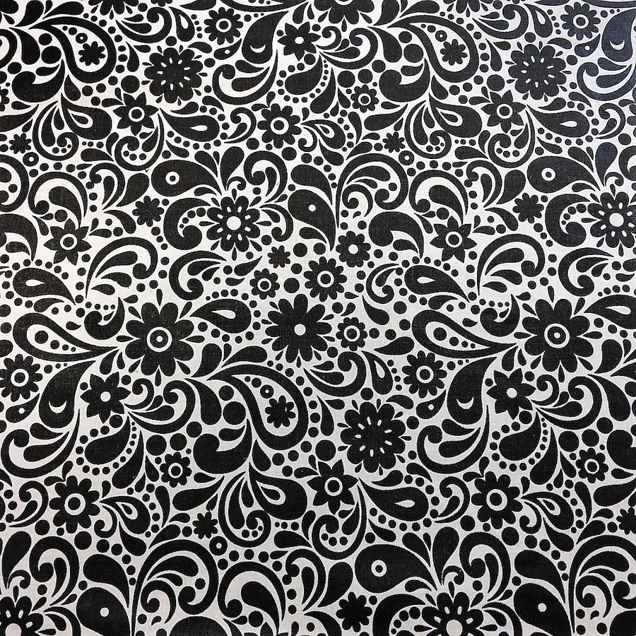 Black and White Sky Printed Cotton Fabric