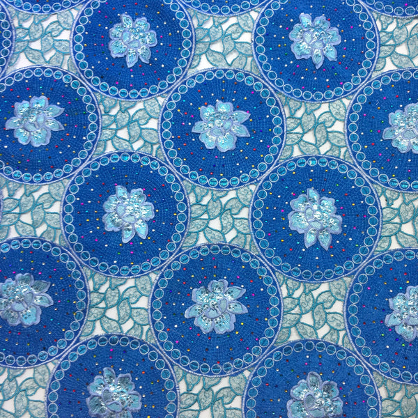 Blue Floral Corded Embroidery Lace Fabric