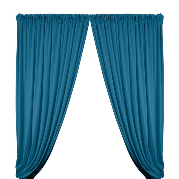 Stretch Velvet Rod Pocket Curtains - Blue