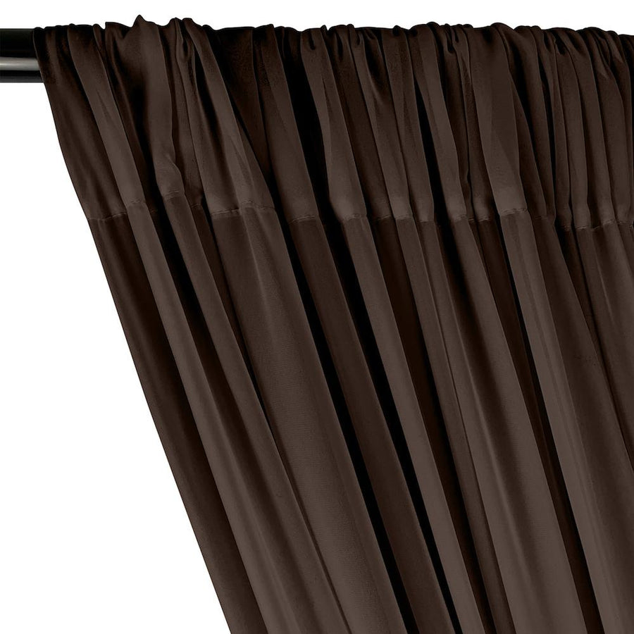 Polyester Chiffon Rod Pocket Curtains - Brown