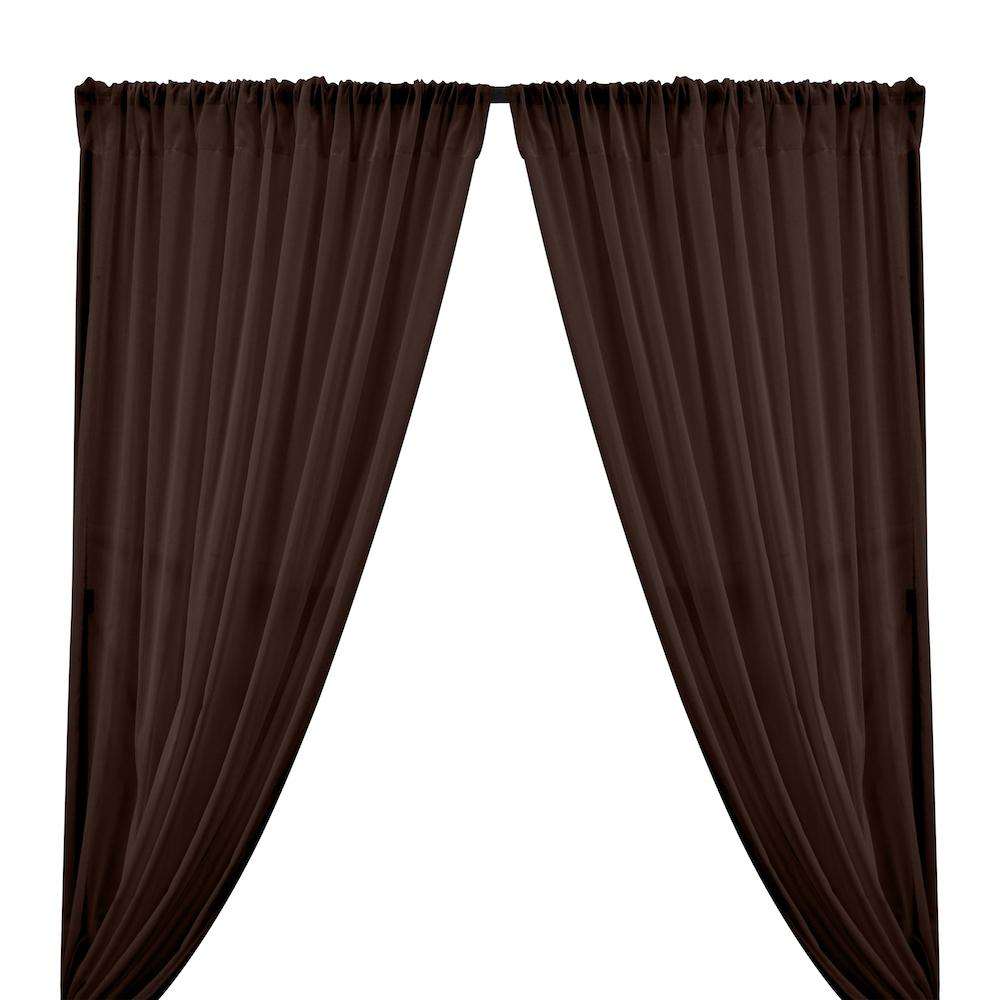 Cotton Voile Rod Pocket Curtains - Brown