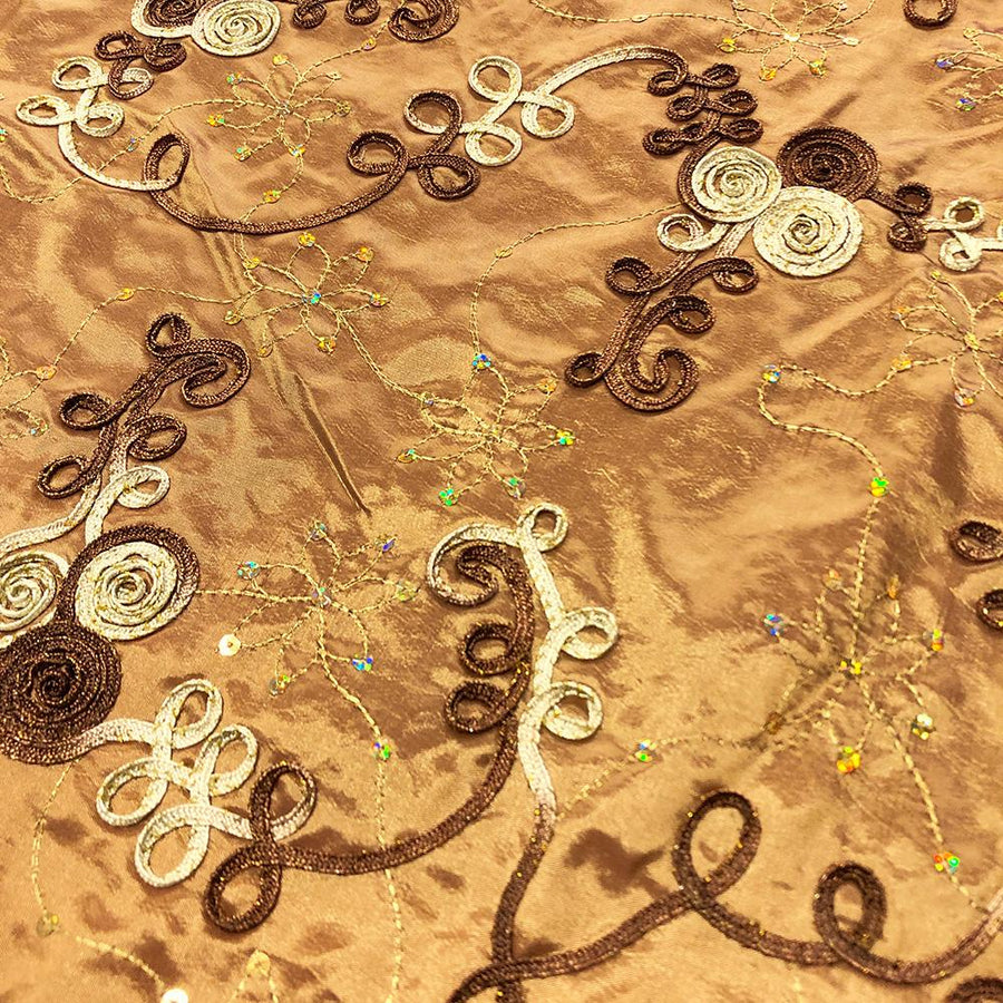 Brown Embroidered Rosette on Gold Satin