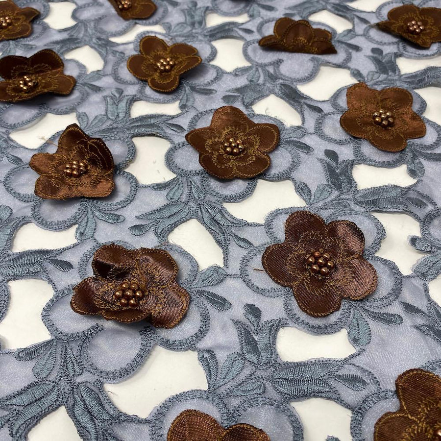 Brown Floral Embroidery on Grey Organza Lace