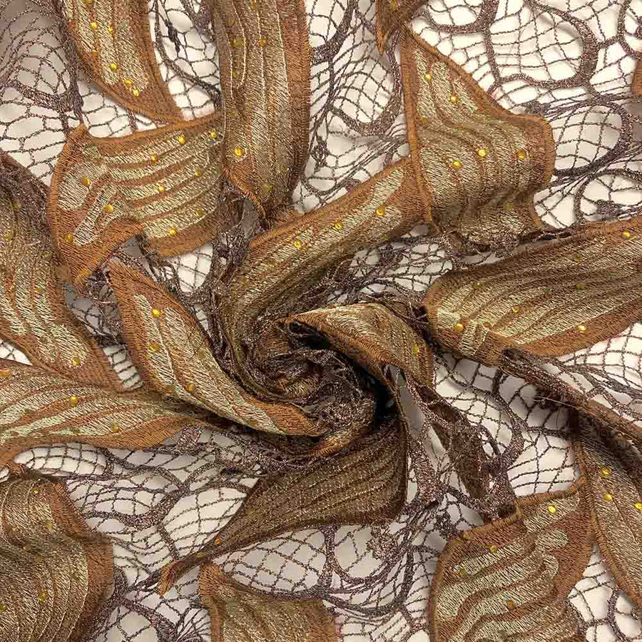 Brown Leaf Corded Embroidery Lace with Stone Fabric