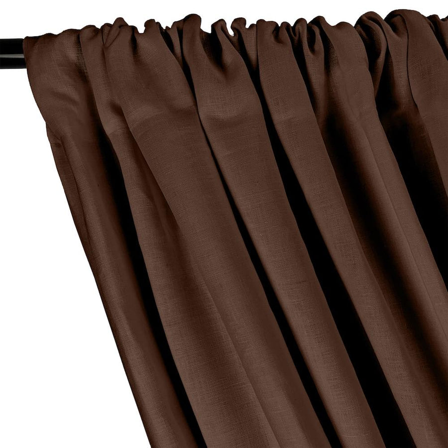 Natural Linen Rod Pocket Curtains - Brown