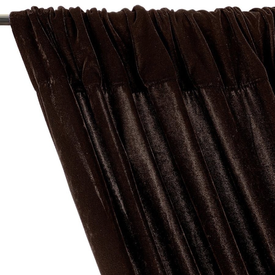 Micro Velvet Rod Pocket Curtains - Brown